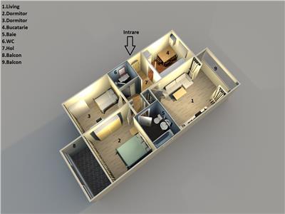 Decomandat, Ciuperca, etaj 2/4, mobilat
