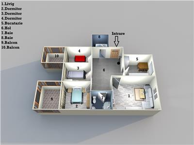 Brazda, centrala termica, etaj intermediar, 2 bai, 2 balcoane