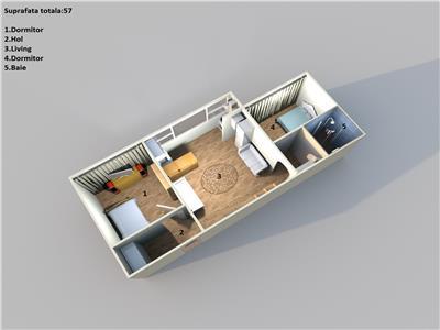 Ciuperca, transformat in 3 camere, centrala termica, mobilat si utilat