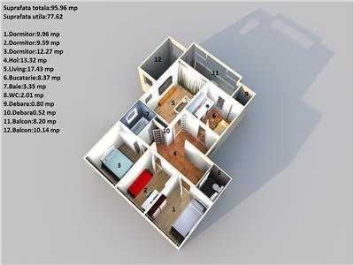 Insula, 96mp, centrala termica, etaj 1,2 bai, 2 balcoane